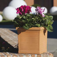 Vaso Quadro Millerighe in plastica colore impruneta H 34.6 cm, L 35 x P 35 cm