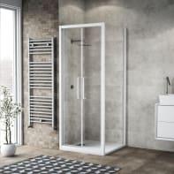 Box doccia battente 100 x 80 cm, H 195 cm in vetro, spessore 6 mm trasparente bianco