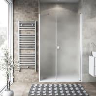 Box doccia battente 110 x 70 cm, H 200 cm in vetro, spessore 6 mm spazzolato bianco
