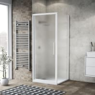 Box doccia battente 70 x , H 195 cm in vetro, spessore 6 mm spazzolato bianco