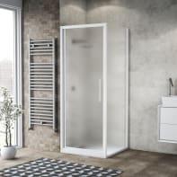 Box doccia battente 80 x , H 195 cm in vetro, spessore 6 mm spazzolato bianco