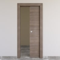 Porta scorrevole a scomparsa Stylish grigio marrone L 80 x H 210 cm reversibile
