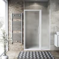 Box doccia battente 130 x 70 cm, H 195 cm in vetro, spessore 6 mm spazzolato bianco