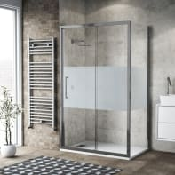 Box doccia scorrevole 100 x 80 cm, H 195 cm in vetro, spessore 6 mm serigrafato argento