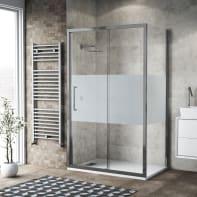 Box doccia scorrevole 135 x 80 cm, H 195 cm in vetro, spessore 6 mm serigrafato argento