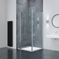 Box doccia rettangolare battente 70 x 90 cm, H 195 cm in vetro temprato, spessore 6 mm trasparente argento