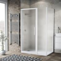 Box doccia battente 110 x 80 cm, H 195 cm in vetro, spessore 6 mm spazzolato bianco