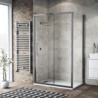 Box doccia scorrevole 140 x 80 cm, H 195 cm in vetro, spessore 6 mm trasparente argento