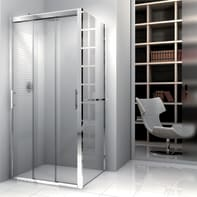 Porta doccia 3 ante scorrevoli Elyt 170 cm, H 190 cm in vetro temprato, spessore 6 mm trasparente cromato
