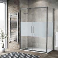 Box doccia scorrevole 150 x 80 cm, H 195 cm in vetro, spessore 6 mm serigrafato argento
