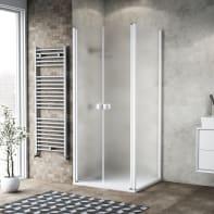 Porta doccia 120 x 80 cm, H 200 cm in vetro, spessore 6 mm spazzolato bianco