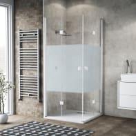 Box doccia pieghevole 80 x 90 cm, H 200 cm in vetro, spessore 6 mm serigrafato bianco
