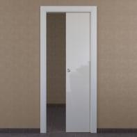 Porta scorrevole a scomparsa Massaua White bianco L 80 x H 210 cm reversibile