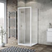 Porta doccia 95 x , H 195 cm in vetro, spessore 6 mm spazzolato bianco