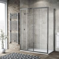 Box doccia scorrevole 175 x 80 cm, H 195 cm in vetro, spessore 6 mm trasparente argento