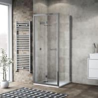 Box doccia pieghevole 90 x 80 cm, H 195 cm in vetro, spessore 6 mm trasparente argento