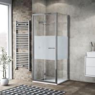 Box doccia pieghevole 90 x 80 cm, H 195 cm in vetro, spessore 6 mm serigrafato argento