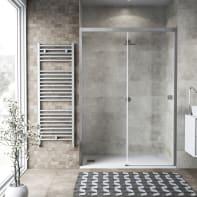 Porta doccia 1 anta fissa + 1 anta scorrevole Neo 170 cm, H 200 cm in vetro temprato, spessore 6 mm trasparente cromato