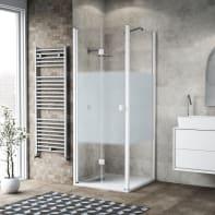 Box doccia pieghevole 90 x 80 cm, H 201.7 cm in vetro, spessore 6 mm serigrafato bianco