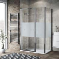 Box doccia pieghevole 130 x 80 cm, H 195 cm in vetro, spessore 6 mm brinato / trasparente argento
