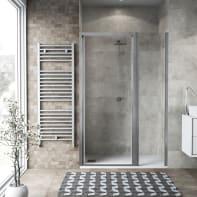 Box doccia battente 140 x , H 195 cm in vetro, spessore 6 mm trasparente argento