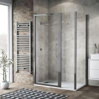 Box doccia battente 140 x 80 cm, H 195 cm in vetro, spessore 6 mm trasparente argento