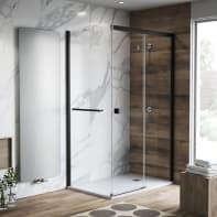 Porta doccia rettangolare 180 x 80 cm, H 200 cm in vetro temprato, spessore 6 mm trasparente nero