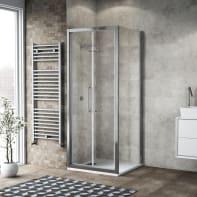 Box doccia battente 75 x 80 cm, H 195 cm in vetro, spessore 6 mm trasparente argento