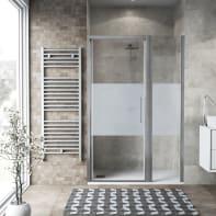 Box doccia battente 140 x , H 195 cm in vetro, spessore 6 mm serigrafato argento