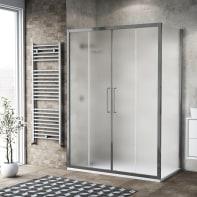 Box doccia scorrevole 150 x , H 195 cm in vetro, spessore 6 mm spazzolato argento