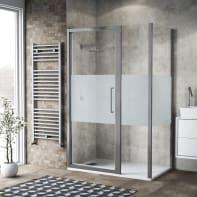 Box doccia battente 140 x 80 cm, H 195 cm in vetro, spessore 6 mm serigrafato argento