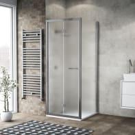 Box doccia pieghevole 70 x , H 195 cm in vetro temprato, spessore 6 mm spazzolato argento