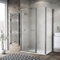 Box doccia pieghevole 135 x , H 195 cm in vetro, spessore 6 mm spazzolato argento