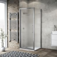 Box doccia battente 100 x 80 cm, H 195 cm in vetro, spessore 6 mm spazzolato argento