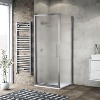 Box doccia battente 90 x , H 195 cm in vetro, spessore 6 mm spazzolato argento