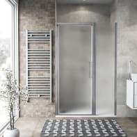 Box doccia battente 140 x , H 195 cm in vetro, spessore 6 mm spazzolato argento