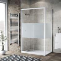 Box doccia scorrevole 115 x 80 cm, H 195 cm in vetro, spessore 6 mm serigrafato bianco