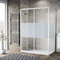 Box doccia scorrevole 160 x , H 195 cm in vetro, spessore 6 mm serigrafato bianco