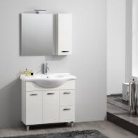 Set mobile da bagno con lavabo Nicole bianco L 85 cm