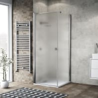 Box doccia battente 100 x 80 cm, H 200 cm in vetro, spessore 6 mm spazzolato cromato