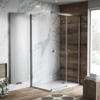 Porta doccia rettangolare 150 x , H 200 cm in vetro temprato, spessore 6 mm trasparente grigio