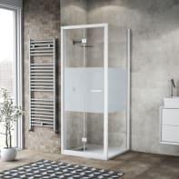 Box doccia pieghevole 90 x , H 195 cm in vetro, spessore 6 mm serigrafato bianco