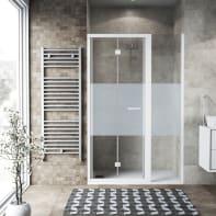 Box doccia pieghevole 110 x 70 cm, H 195 cm in vetro, spessore 6 mm serigrafato bianco