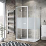 Box doccia pieghevole 120 x 80 cm, H 195 cm in vetro, spessore 6 mm serigrafato bianco