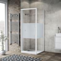 Box doccia battente 100 x 80 cm, H 195 cm in vetro, spessore 6 mm serigrafato bianco