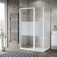 Box doccia battente 135 x , H 195 cm in vetro, spessore 6 mm serigrafato bianco