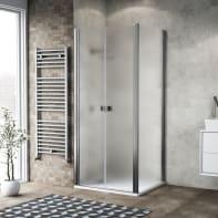 Porta doccia 120 x 80 cm, H 200 cm in vetro, spessore 6 mm spazzolato cromato