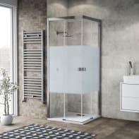 Box doccia scorrevole 80 x 80 cm, H 200 cm in vetro, spessore 6 mm serigrafato cromato