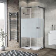 Box doccia scorrevole 80 x 100 cm, H 200 cm in vetro, spessore 6 mm serigrafato cromato