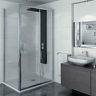 Porta doccia 1 anta fissa + 1 anta scorrevole Manhattan 140 cm, H 200 cm in alluminio, spessore 6 mm trasparente cromato